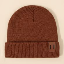 PU Leather Label Decor Beanie