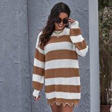 Colorblock Scallop Hem Sweater Dress