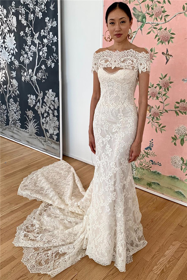 Robes formelles hors de lepaule en dentelle de sirene | robes de mariee dos nu