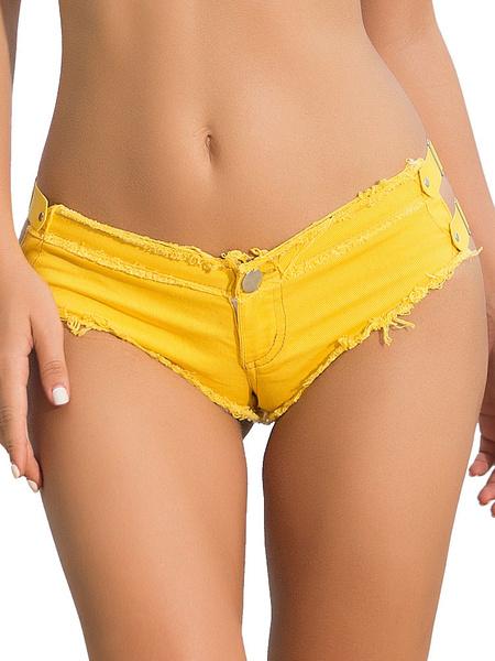 Milanoo Sexy Denim Shorts Buckle Women Rose Summer Mini Booty Shorts