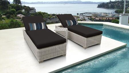 Coast Collection COAST-2x-ST-BLACK Patio Set with 2 Chaises   1 Side Table - Beige and Black