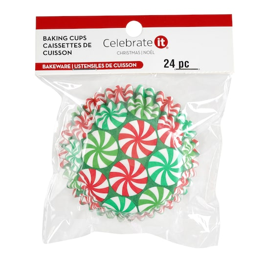 Peppermint Candy Christmas Baking Cup Celebrate It® in Red   Michaels®
