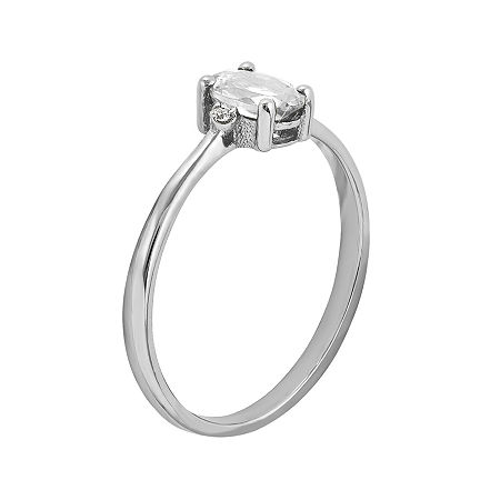 Genuine White Topaz Diamond-Accent 14K White Gold Ring, 7 , No Color Family