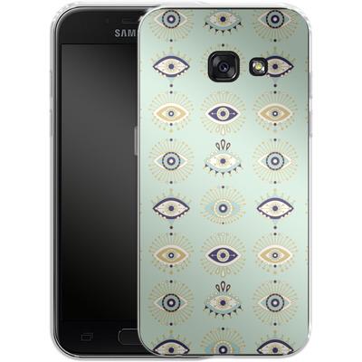 Samsung Galaxy A3 (2017) Silikon Handyhuelle - Evil Eyes Mint von Cat Coquillette