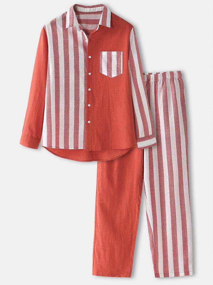 Men Cotton Contrast Color Patchwork Striped Drawstring Shirts Design Loungewear Sets