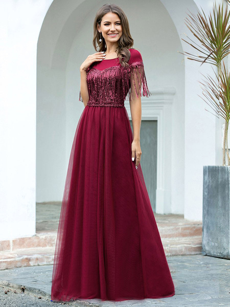 Milanoo Evening Dress A-Line Jewel Neck Floor-Length Short Sleeves Tassel Zipper Chiffon Social Party Dresses