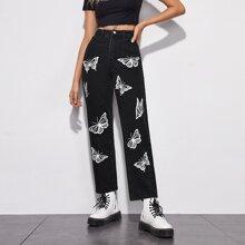Butterfly Print Straight Leg Jeans