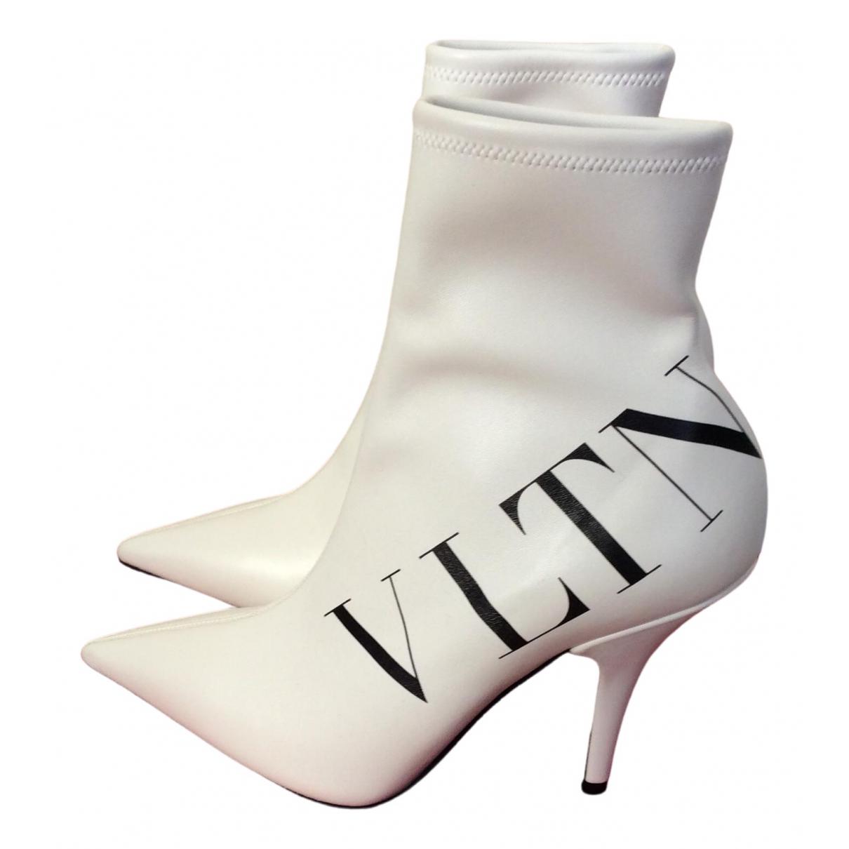 Valentino Garavani VLTN Stiefeletten in  Weiss Leder
