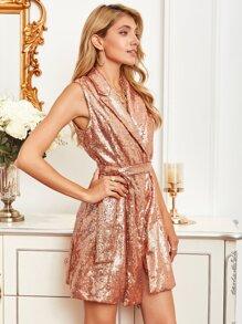 DKRX Notched Collar Belted Sequin Blazer Dress