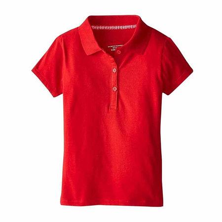U.S. Polo Assn. Little Girls Short Sleeve Polo Shirt, 5/6 , Red