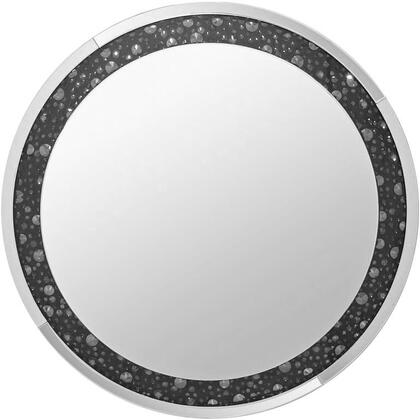 Noor Collection 97392 39 Accent Wall Mirror with Clear Glass and Faux Gem Stones Inaly  Beveled Mirrored Trim  Geometric Pattern  Glam Style and