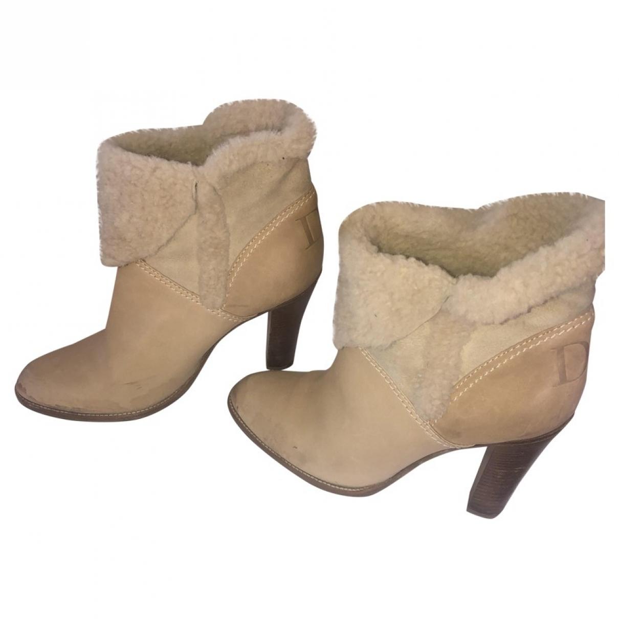 Dior - Bottes   pour femme en cuir - beige