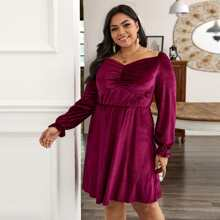 Samt Kleid mit Herzen Kragen und Ruesche