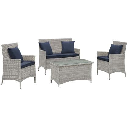 Bridge Collection EEI-2763-LGR-NAV 4 PC Outdoor Patio Conversation Set with 2 Armchairs  Loveseat  Glass Top Coffee Table  Fabric Cushions and Powder