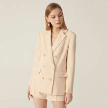SPANDEX STRUCTURED DOUBLE BREASTED BLAZER & SHORTS SET