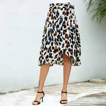 All Over Print Side Knot Wrap Skirt