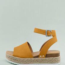 Open Toe Ankle Strap Flatform Espadrille Sandals