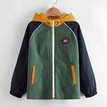 Boys Patch Detail Raglan Sleeve Colorblock Hooded Jacket
