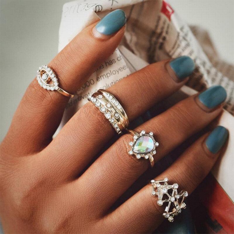 Vintage Geometric Water Drop Diamond Rings Metal Tiangle Hollow Rhinestone Joint Rings