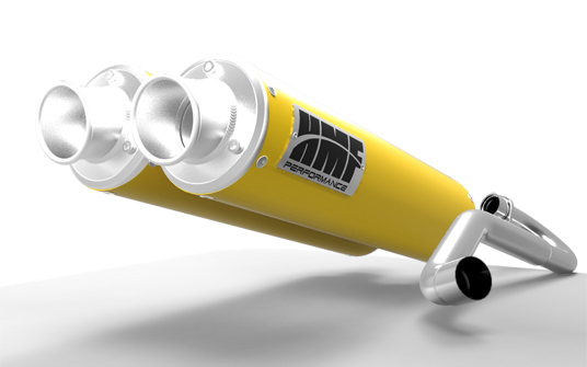 HMF Racing 16322696371 Dual 3/4 System Performance Series Yellow Exhaust Turn Down Brushed Tips Outer Mount Can-Am Commander 1000 11-13