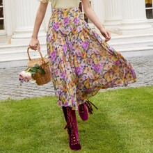 Falda plisada de gasa con estampado floral