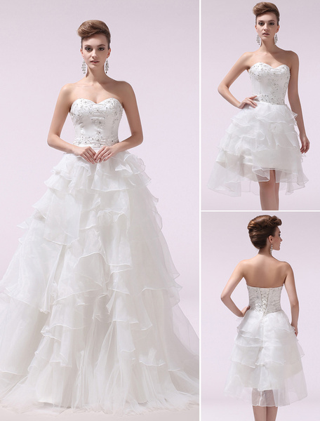 Milanoo Ivory A-line Sweetheart Beading Organza Wedding Dress with Detachable Panel Train