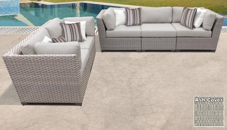 Florence Collection FLORENCE-05a-ASH 5-Piece Patio Set with 4 Corner Chairs and 1 Armless Chair - Grey and Ash