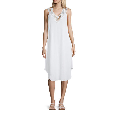 Lm Beach Dress Swimsuit Cover-Up, Small , White