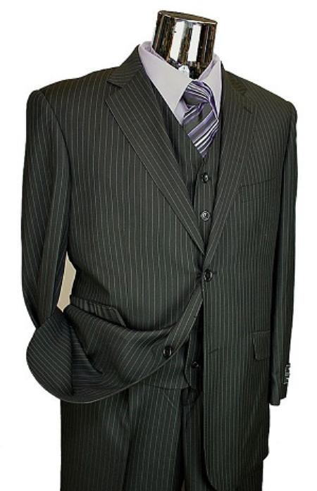 2 Button 3 Piece Black Pinstripe Italian Designer Suit Mens