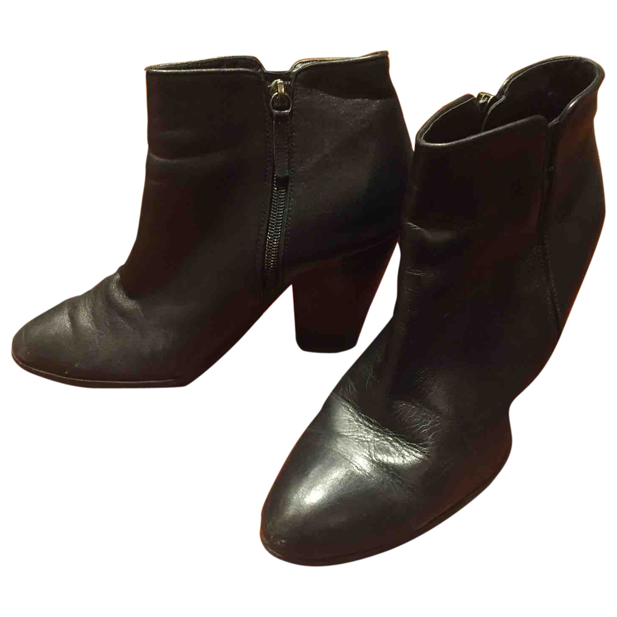Ann Tuil \N Black Leather Ankle boots for Women 39 EU