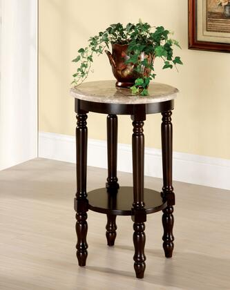Santa Clarita CM-AC788 Round Marble Top Stand with Classic Style  Genuine Marble Top  5-Tier Ladder Shelf  Solid Wood and Others in Dark