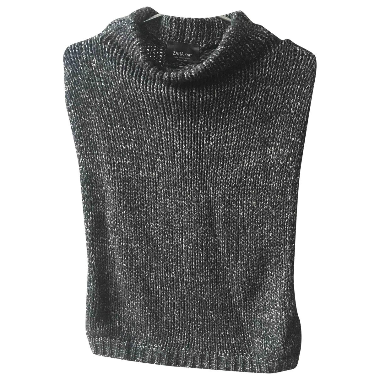 Zara - Pull   pour femme en coton - bleu