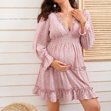 Maternity Shirred Waist Flounce Sleeve Frill Detail All-over Print Dress