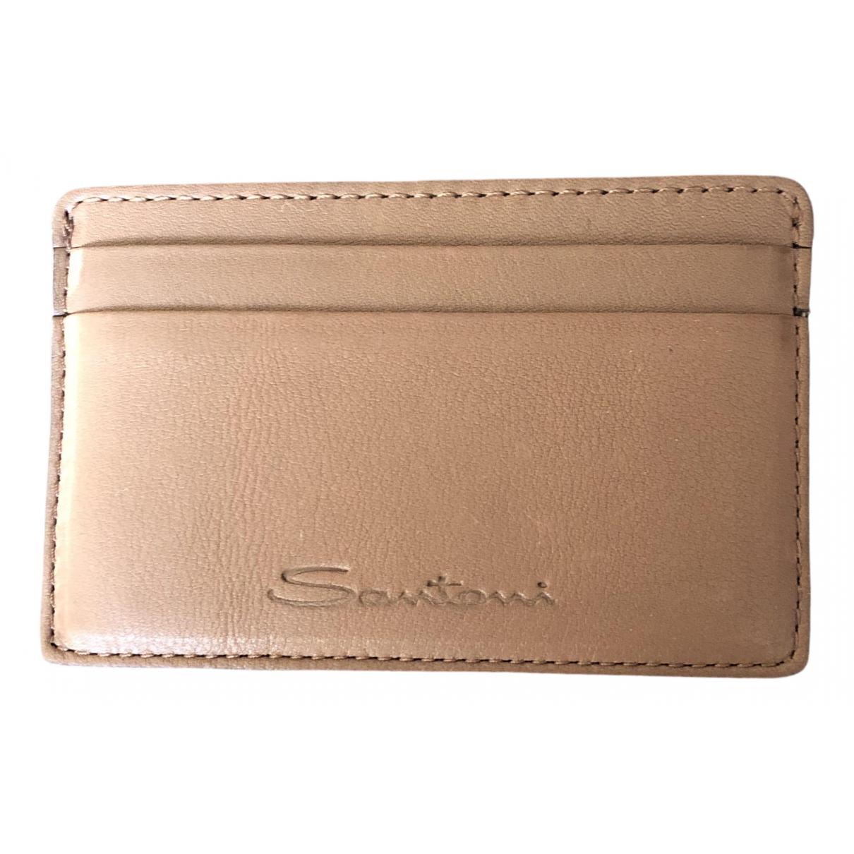 Santoni \N Leather Small bag, wallet & cases for Men \N
