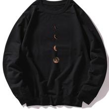 Men Moon Print Round Neck Sweatshirt