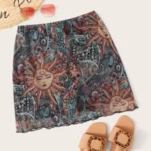 Plus Tribal Print Lettuce Trim Mesh A-line Skirt