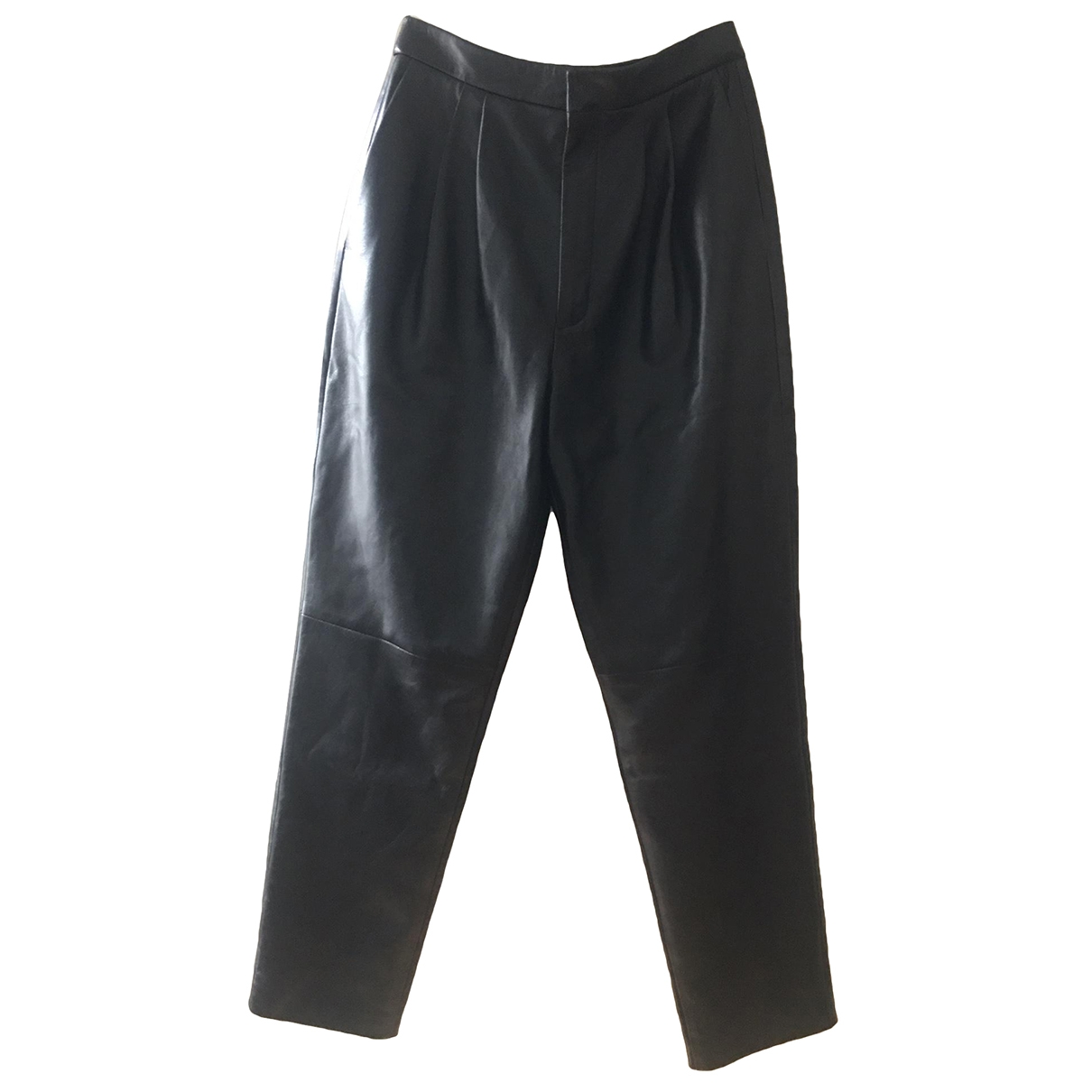 Saint Laurent \N Black Leather Trousers for Women 38 FR