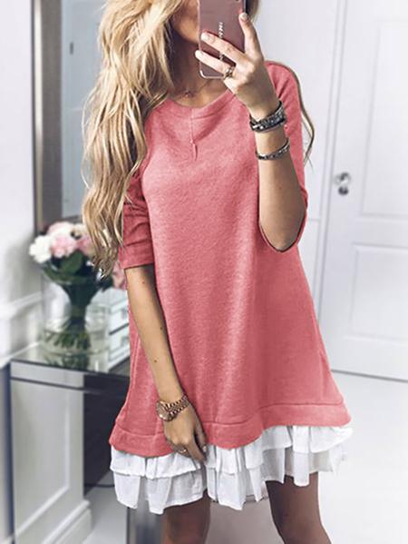 Yoins Pink Round Neck Long Sleeves Ruffle Hem Dress