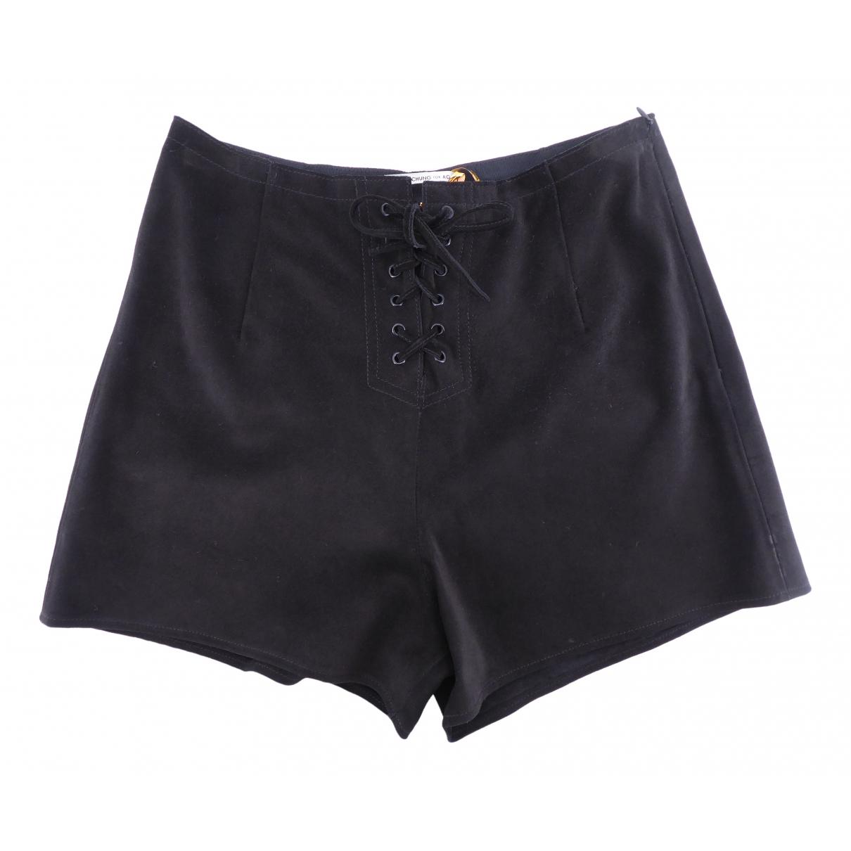 Alexa Chung For Ag - Short   pour femme en suede - noir