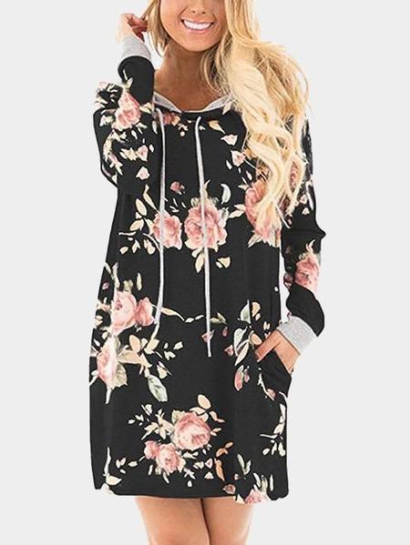 Yoins Black Random Floral Print Hoodie Long Sleeves Mini Dress