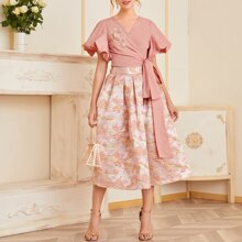 3D Floral Applique Crop Top and Boxy Pleated Jacquard Skirt Set