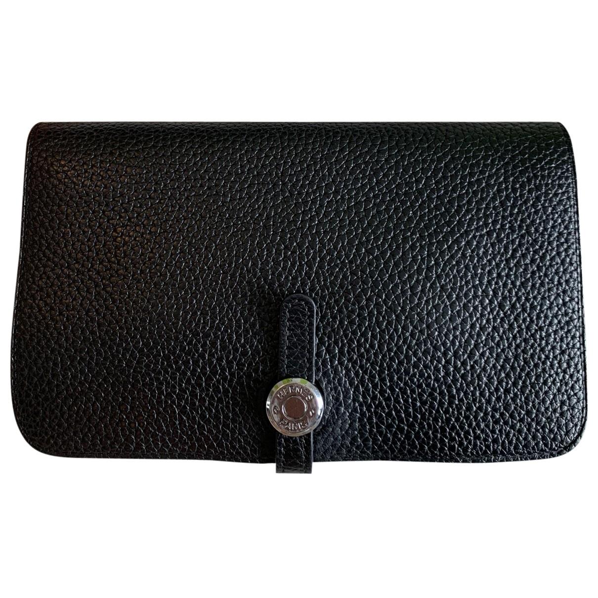 Hermes - Portefeuille Dogon pour femme en cuir - noir