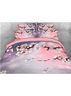 Spring Cherry Blossom Branches Printed 4-Piece Floral 3D Bedding Sets/Duvet Covers