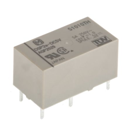 Panasonic , 5V dc Coil Non-Latching Relay DPNO, 5A Switching Current PCB Mount