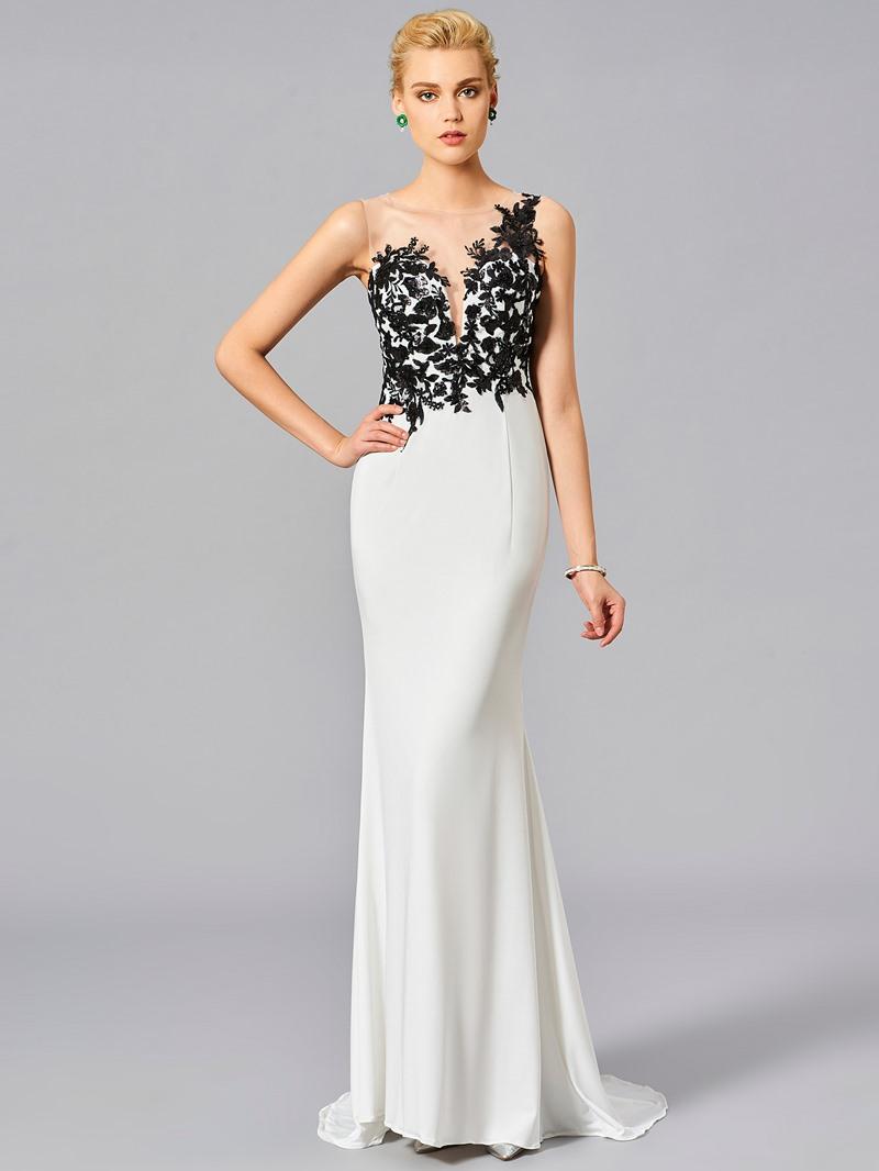 Ericdress Contrast Color Lace Applique Floor Length Long Mermaid Evening Dress