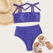 Polka Dot Tie Shoulder High Waisted Bikini Swimsuit