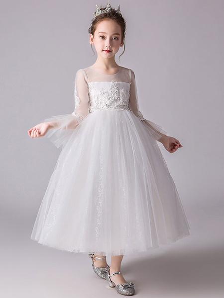 Milanoo Vestidos de niña de las flores Cuello de joya Mangas largas Vestidos de fiesta bordados para niños