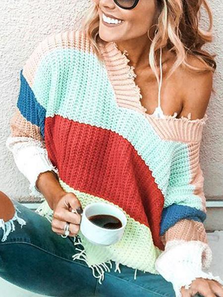 Yoins Pink Color Block Stripe Random Ripped Knit Sweater