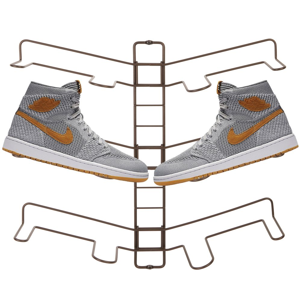 Wall Mount 3-Pair Shoe Display Rack Hanging Storage in Bronze, 4.75