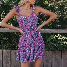 Kleid mit Raffung Armloch, Band hinten und ueberallem Blumen Muster
